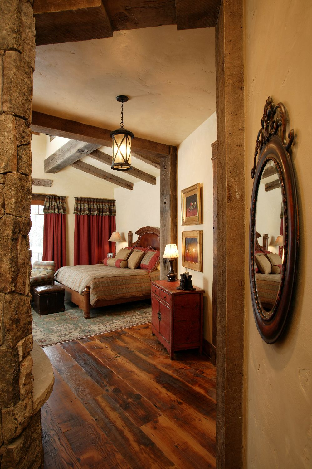 Enthralling Rustic Asian Style Bedroom With Square Brown