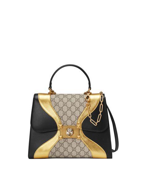 4ad7bad0e GUCCI Iside Medium Gg Supreme & Leather Top-Handle Bag, Black Pattern.