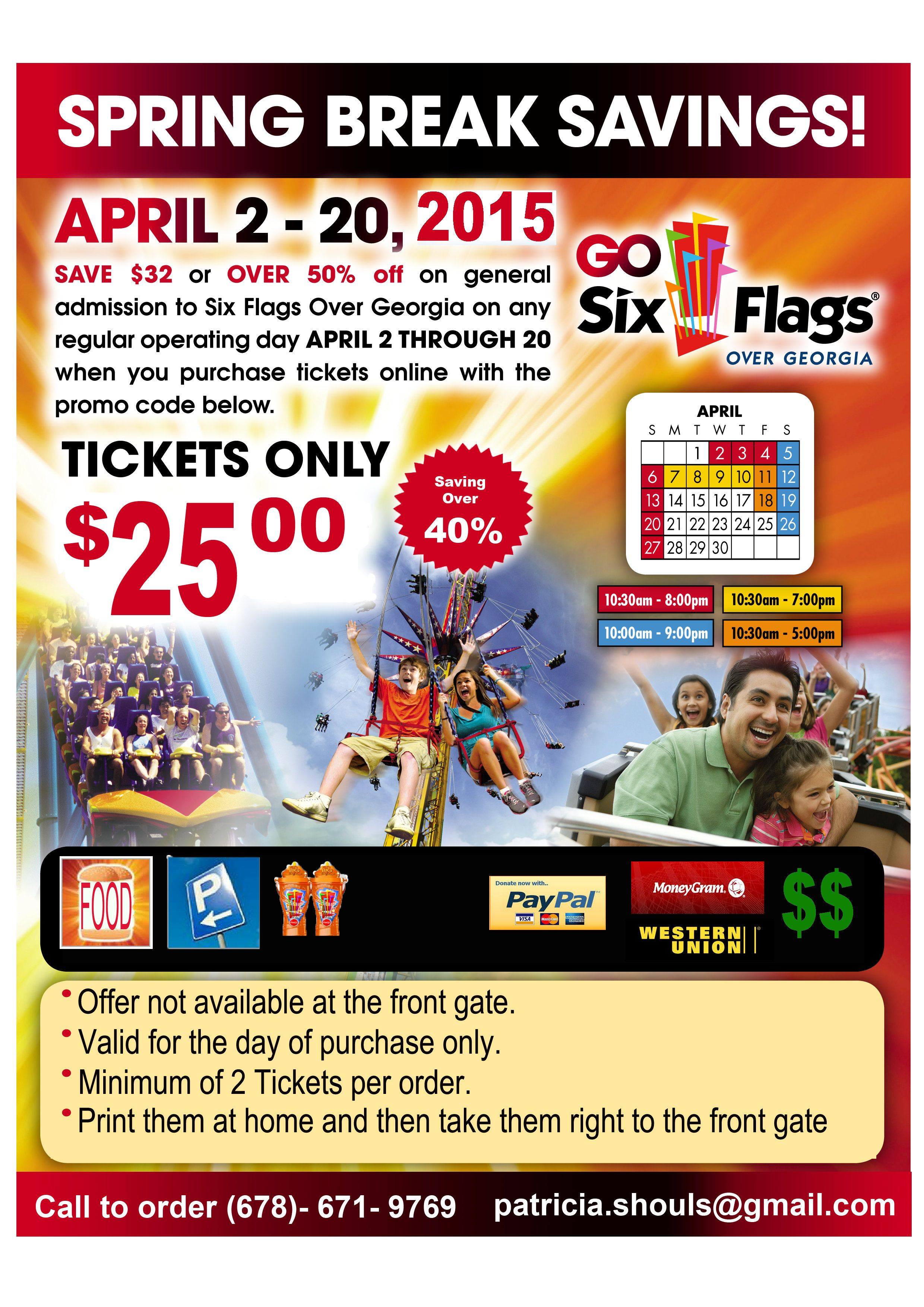 Patricia Shouls Currently Has Discounted Six Flags Tickets For Spring Break For A Limited Time Only Spring Break Six Flags Online Tickets