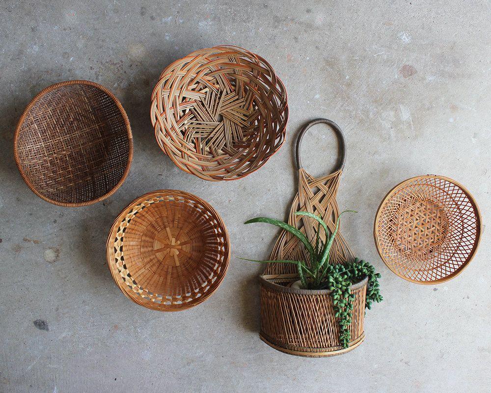Woven Basket Wall Decor vintage wall basket collection// set of 6 basket wall art display