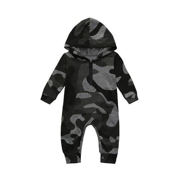UK Newborn Baby Boys Girls Clothing Hooded Camouflage Romper Jumpsuit Playsuit