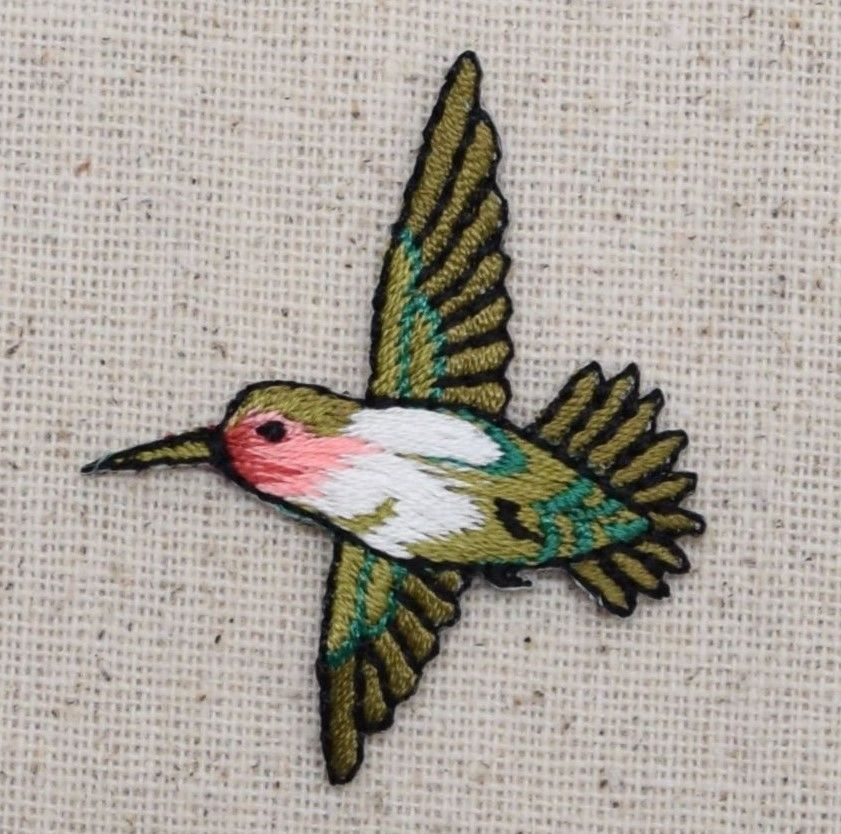 Small Hummingbird LEFT Bird//Red Throat Iron on Applique//Embroidered Patch