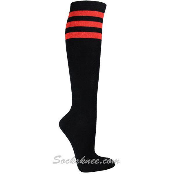 716b1bf70 Black Vivid Ladies 3 Glitter Red Stripes Knee High Socks ( 8.50) ❤ liked on