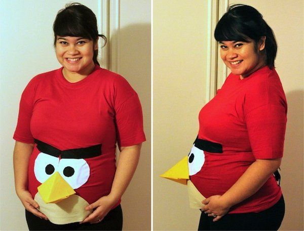 funny maternity halloween costumes angry birds diy pregnant halloween costume - Maternity Halloween Costumes Pregnancy