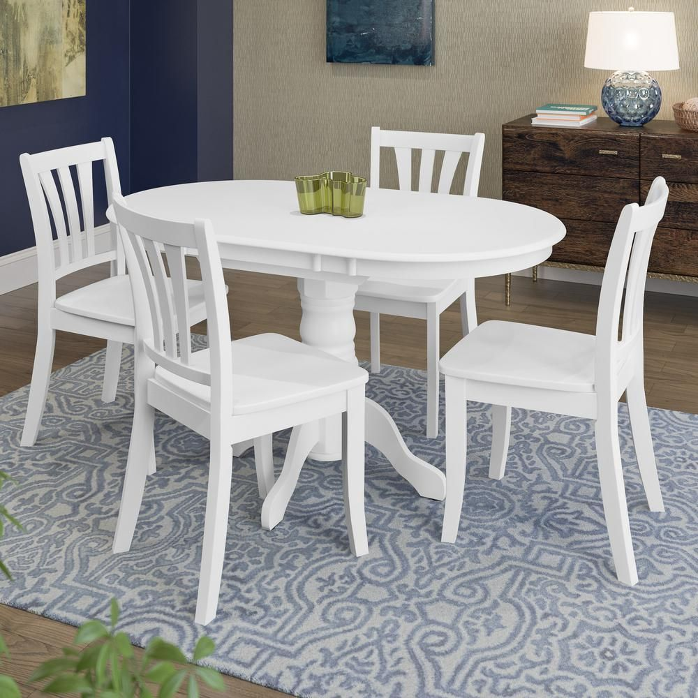 CorLiving Dillon 5 Piece Extendable White Wooden Dining ...