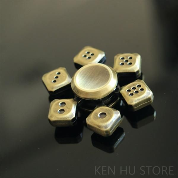 Dice Fidget Spinner Gold Stress Relief - Gambler Gift