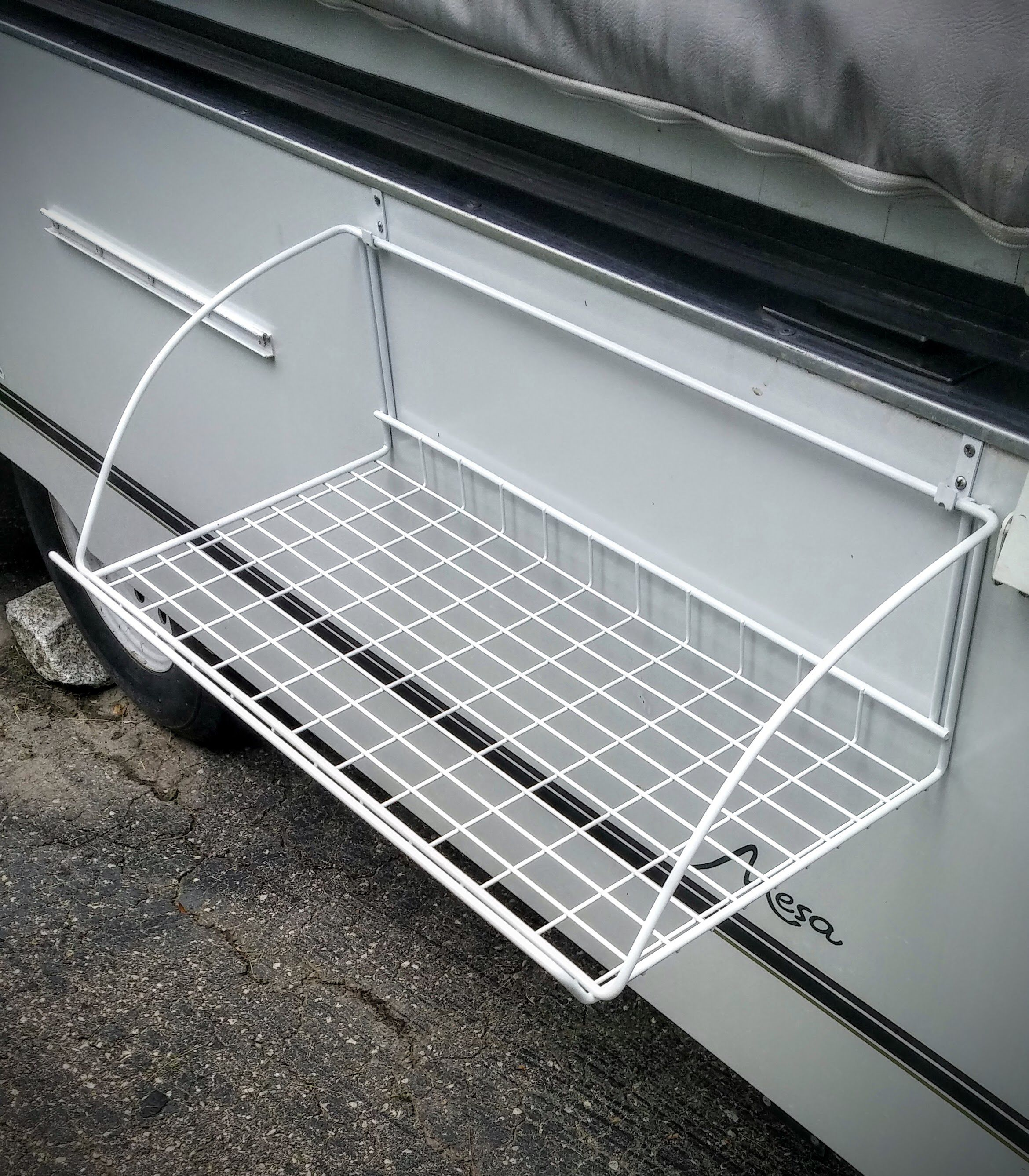 Outdoor Shelf Mod For Popup Trailer Popup Camper Camping Organization Tent Camping