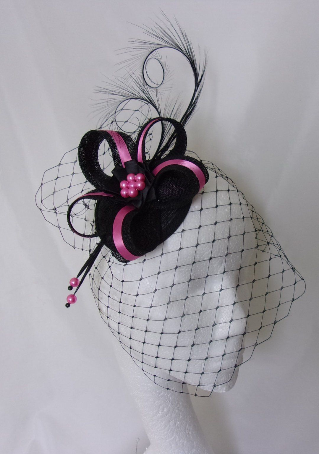467cef56889a6 Hot Fuchsia Pink and Black Veiled Fascinator with Pheasant Curl ...