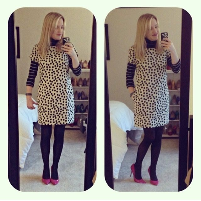 Shift dress and black tights outfit
