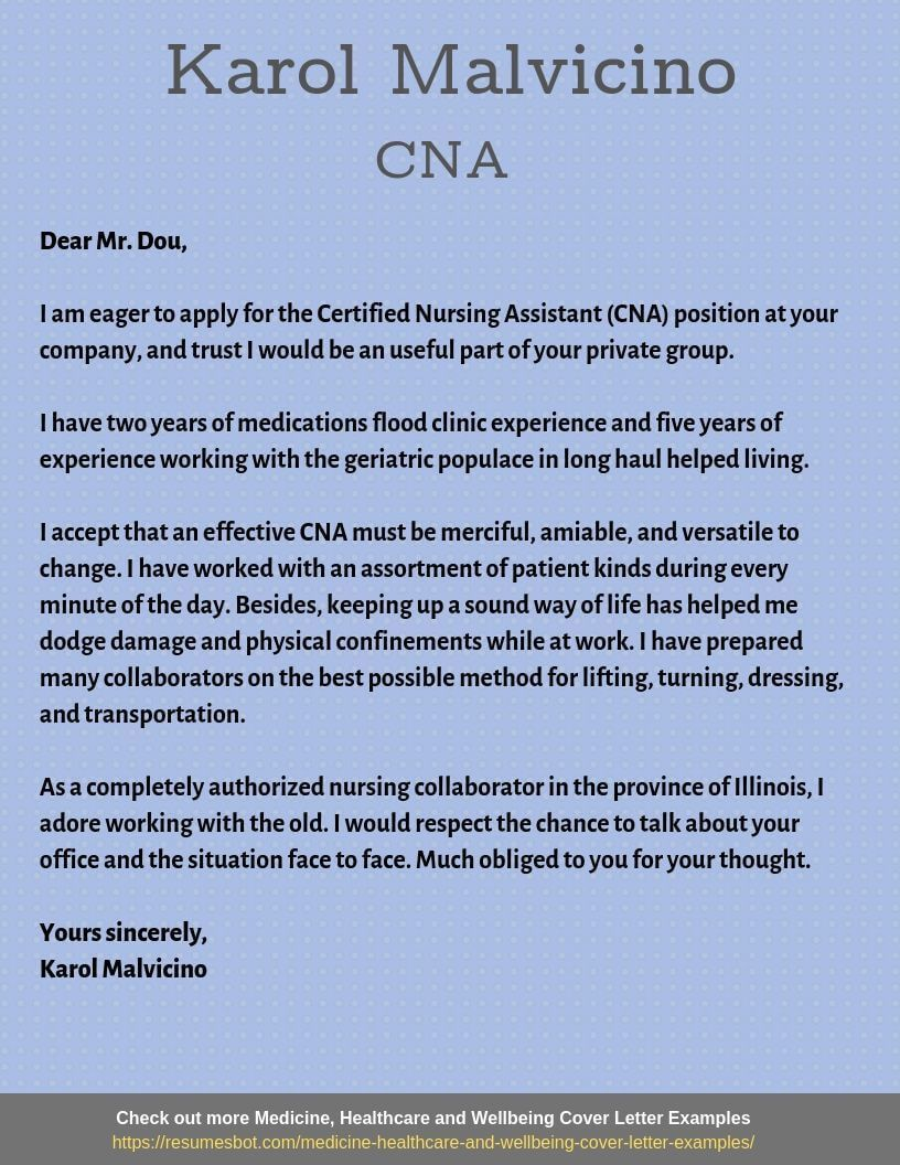 Cover letter example Certified Nursing Assistant Cover