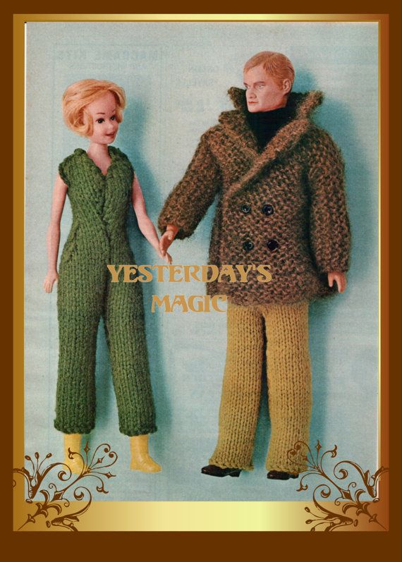 Instant Download Pdf Easy Knitting Pattern To Make Barbie Ken 12 Or