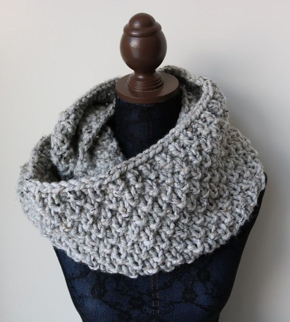 67864d188 Knitted Knit Large Cowl, Infinity Scarf, Circle Scarf. Handmade in Gray  Marble Chunky Wool Yarn. See