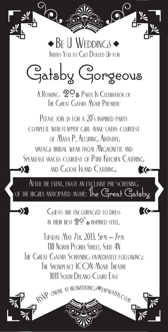 Gatsby Themed Party Invitation – Black and White Party Invitation Wording