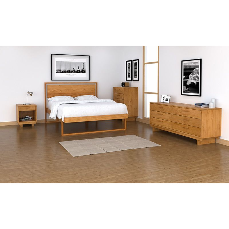Solid Cherry Wood Platform Bed | Modern Style Furniture | American ...