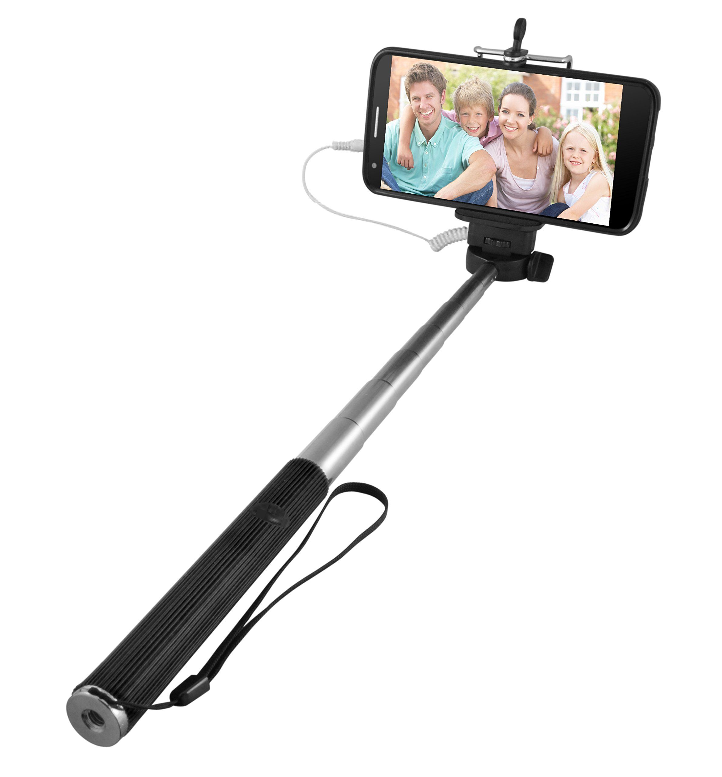 Samsung Galaxy device Ematic Selfie Stick Compatible with iPhone 4S or newer Black and more- Retail Packaging