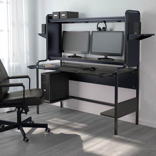 Ikea Fredde Computer Work Station Black 1 585 Nok Liked On Polyvore Featuring Home Furniture Desks Table Top Sh Diy Computer Desk Ikea Gaming Desk Ikea
