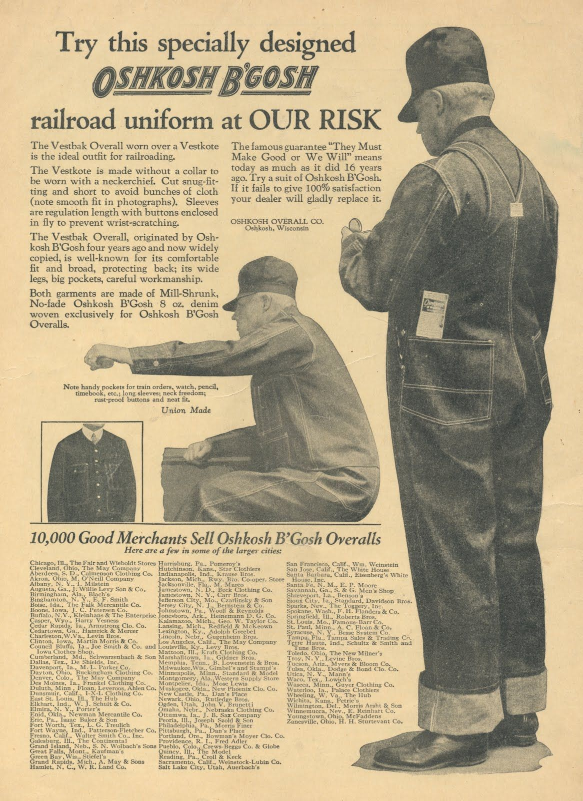 Oshkosh B'gosh AD from Brotherhood of Locomotive Firemen and Enginemen's Magazine. Vol. 83, No.1, July 1927