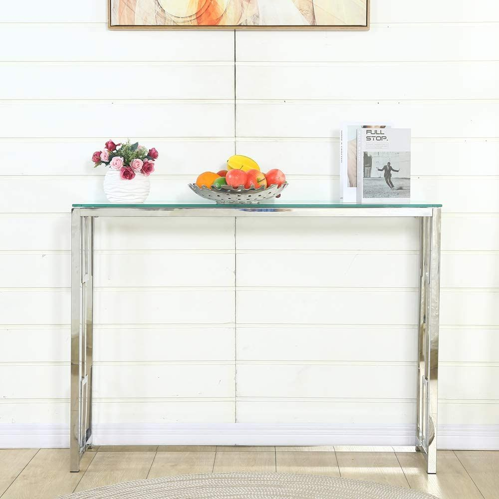 Photo of Modern Chrome Metal Glass Accent Console Sofa Table with Geo…