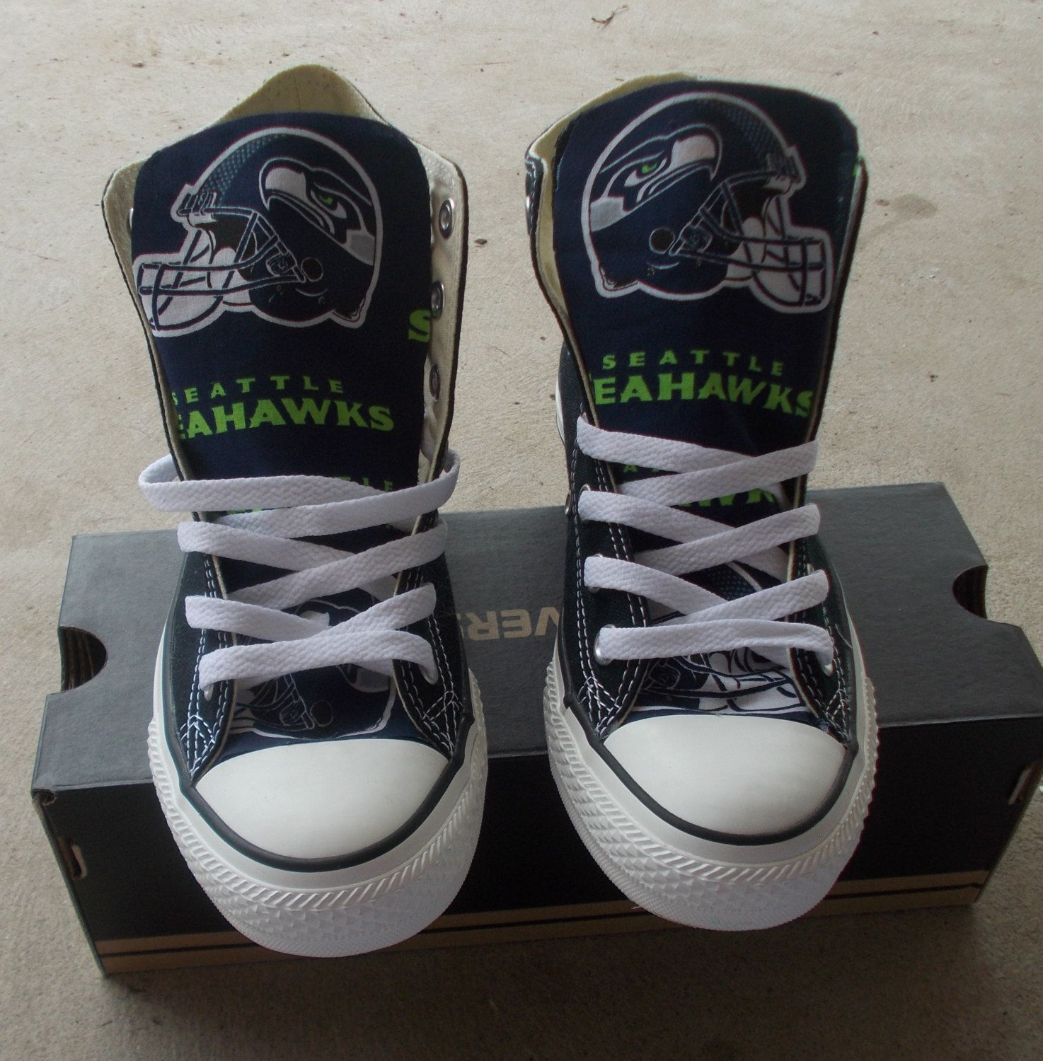2fde3333995 Seattle Seahawks Converse Shoes by FreeStreetShop on Etsy