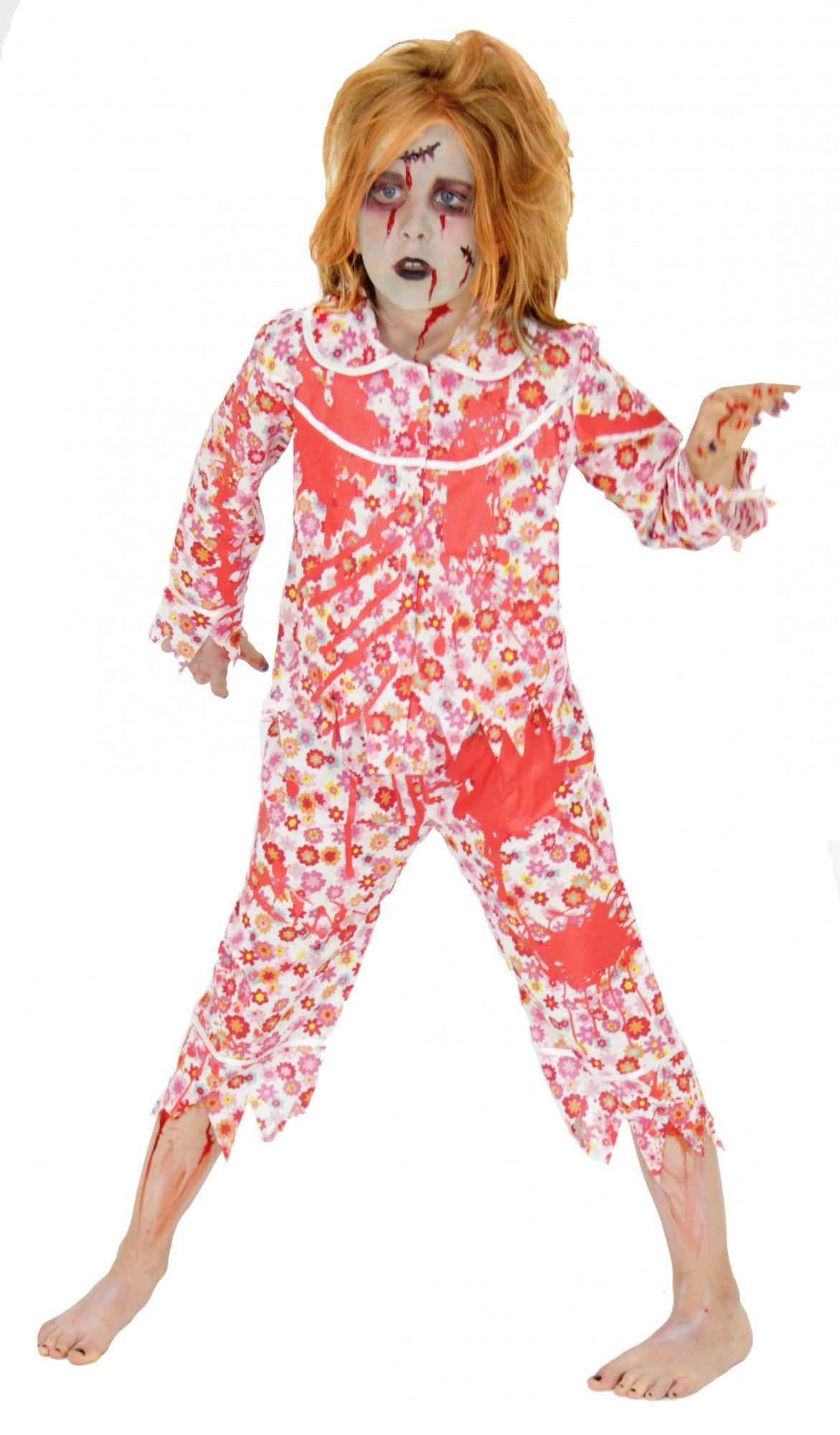 73ee9202407d0e blutiges Zombie Schlafanzug Kostüm blutig für Mädchen | Halloween ...