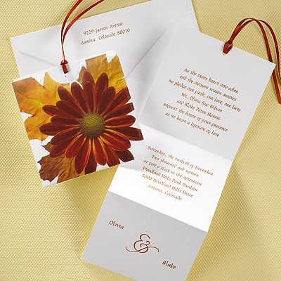 Autumn Daisy Mini Pocket Rustic Wedding Invitations This bright