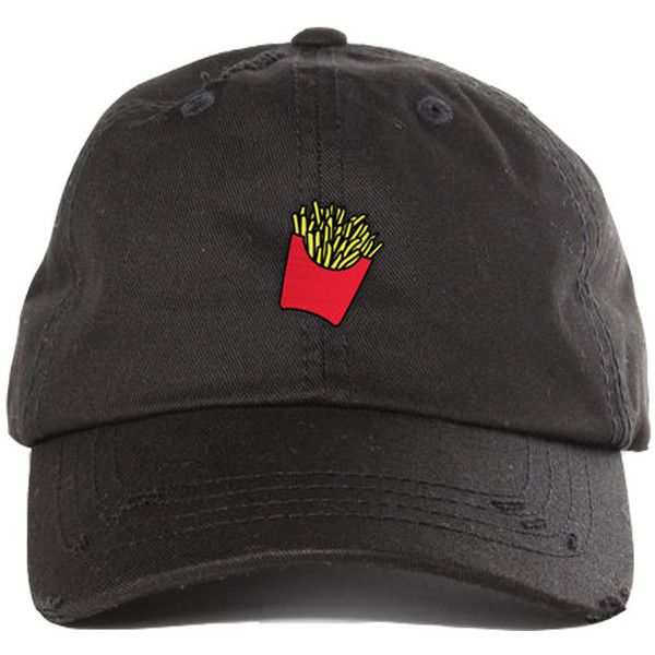 French Fries Destroyed Cap ( 36) ❤ liked on Polyvore featuring accessories 1497a8185075