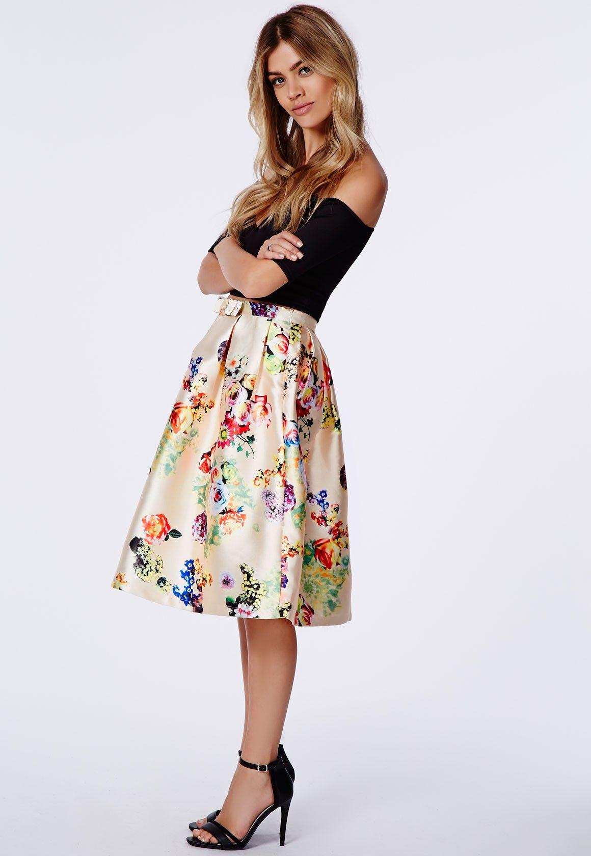 Heidi Floral Satin Full Midi Skirt Cream - Midi Skirts ...