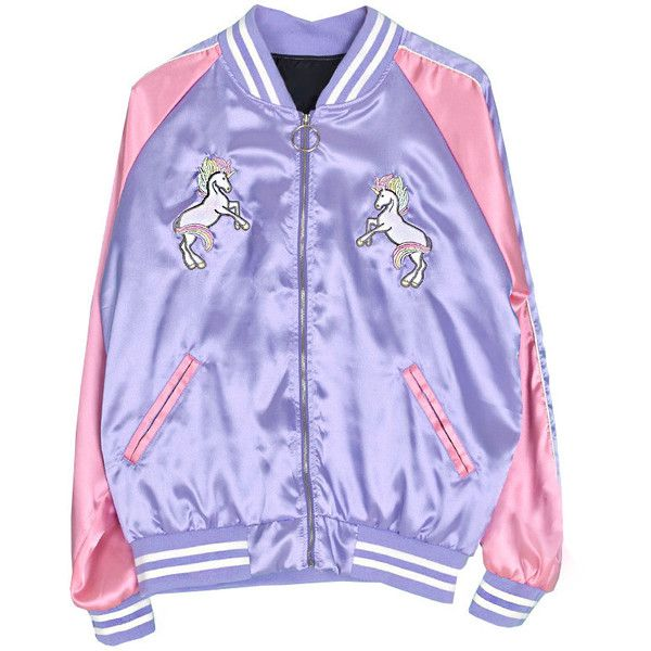 Magic Unicorn Bomber Jacket ($34) ❤ liked on Polyvore featuring outerwear, jackets, coats & jackets, tops, purple jacket, blouson jacket, bomber style jacket, purple bomber jacket and flight jacket