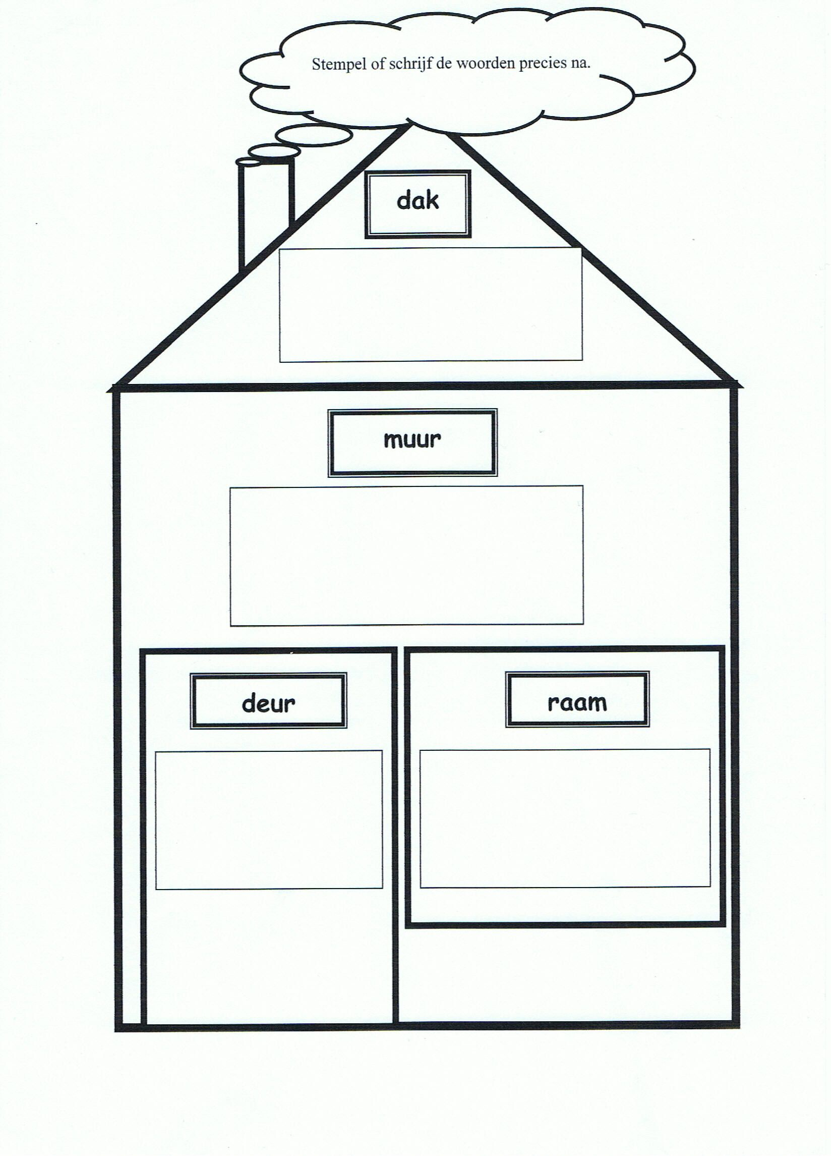 stempelen woorden huis bouw thema bouw knutselen