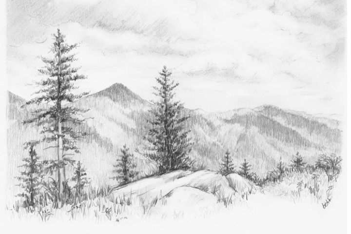 Nature Also Known By The Names Of The Material World The Material Universe The Natural Wo Landscape Pencil Drawings Landscape Sketch Nature Drawing Pictures