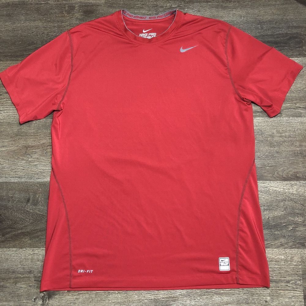 Nike Pro Combat Dri Fit Red Performance Fitness Fitted Crew T Shirt Xxl Fashion Clothing Shoes Accessories Menscloth Nike Pro Combat Nike Pros Active Wear [ 1000 x 1000 Pixel ]