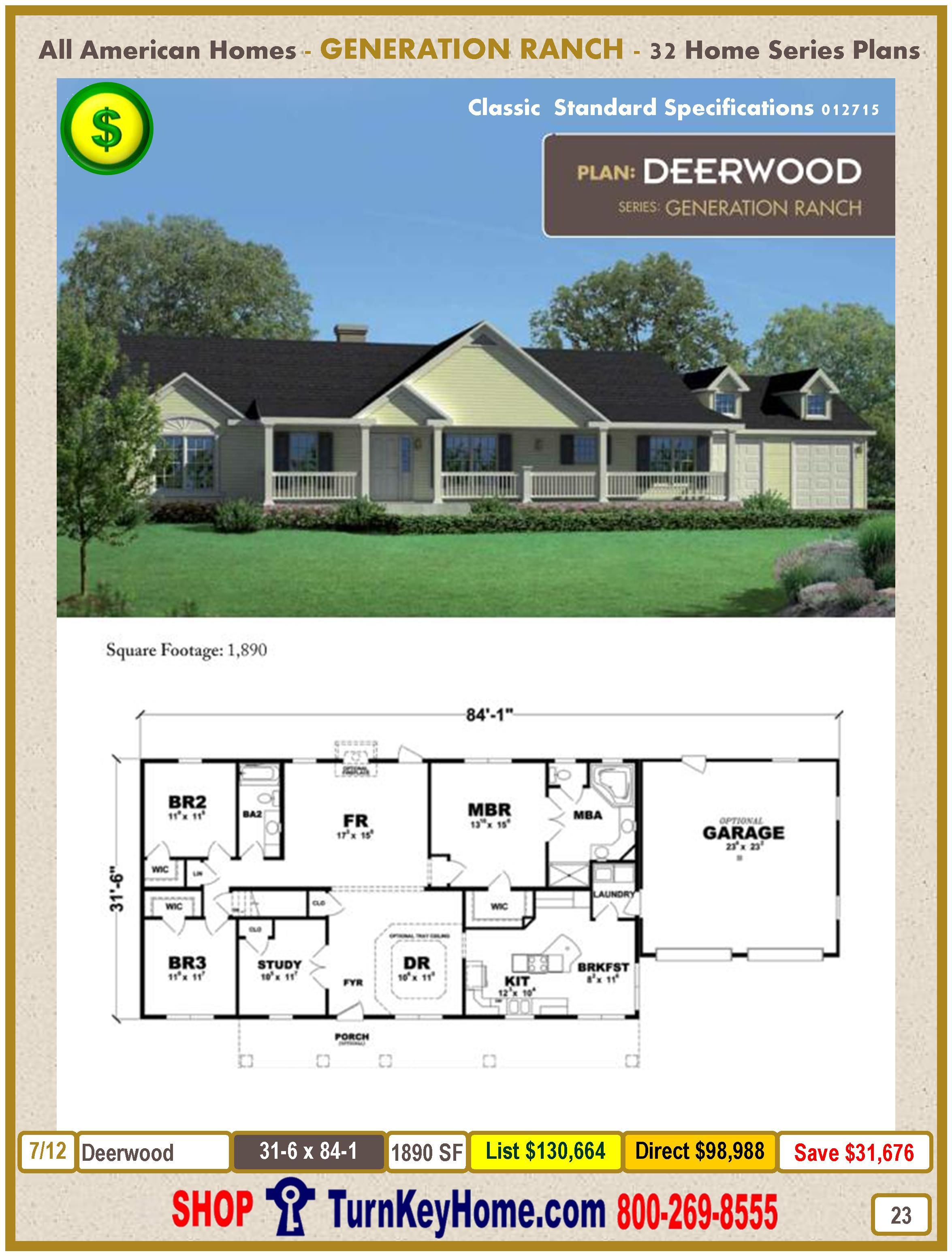Deerwood Modular Home Ranch Plan Direct Priced From All American Homes Generation Ranch Series Modular H Ranch House Plans Modular Home Designs Modular Homes