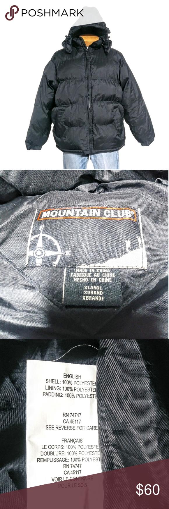 Mountain Club Black Puffer Zip Hooded Jacket Sz Xl Black Puffer Hooded Jacket Jackets [ 1740 x 580 Pixel ]