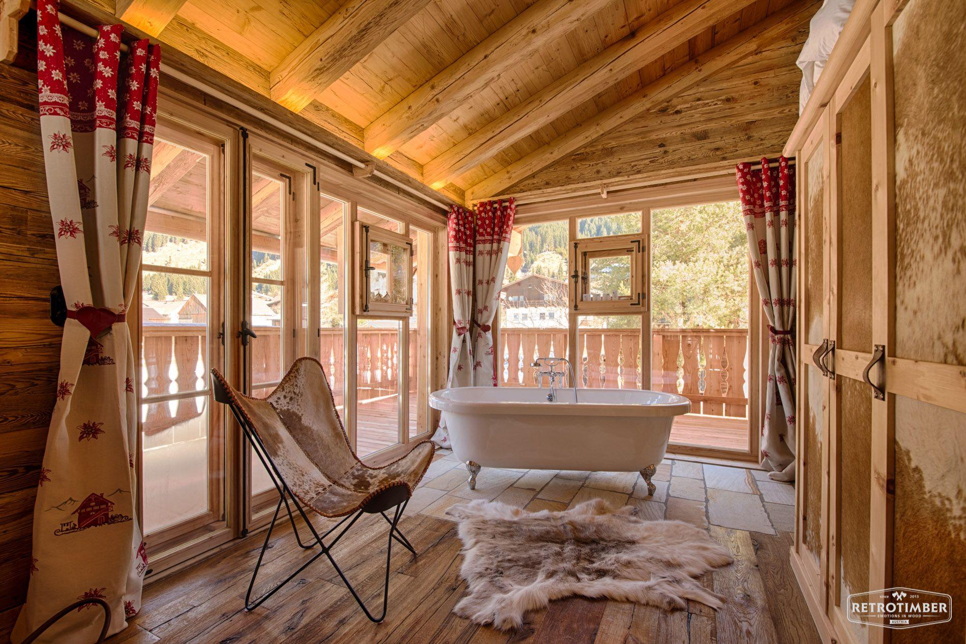 Badezimmer Landhausstil Ideen retrotimber altholz balken hausbau bau fichte lärche