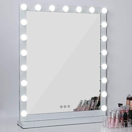 """Lighted Makeup Vanity Mirror, 3 Color Modes Tabletops Lighted Mirror LED Illuminated Cosmetic Mirror with 21 LED Dimmable Bulbs (25"""" x 20"""") - Walmart.com"""