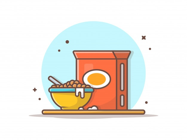 Breakfast Time Cereals On Bowl In 2021 Vector Icons Illustration Food Drawing Food Cartoon