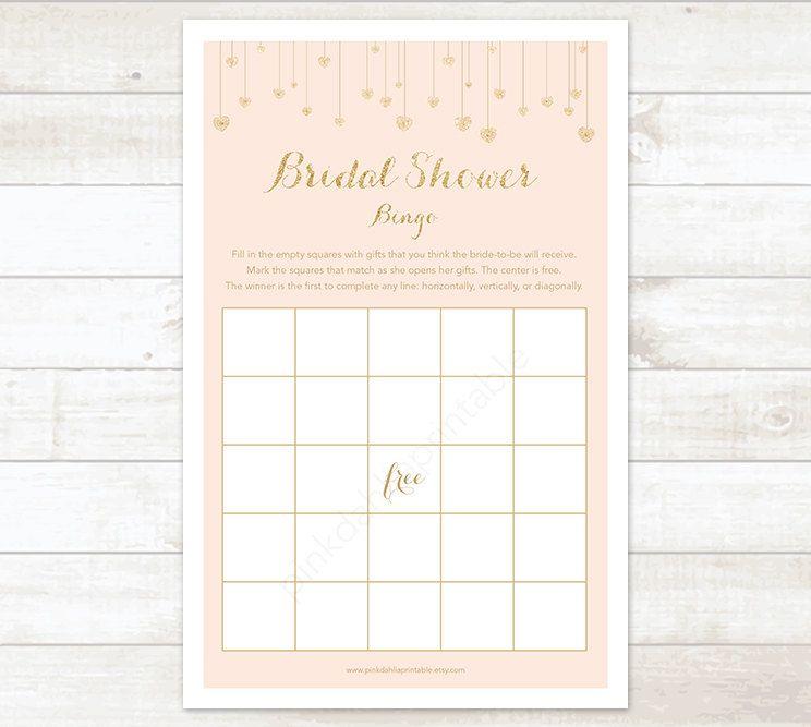 bridal shower invitations vector free%0A pink gold hearts bridal shower bingo printable game blush pink gold glitter wedding  shower digital games