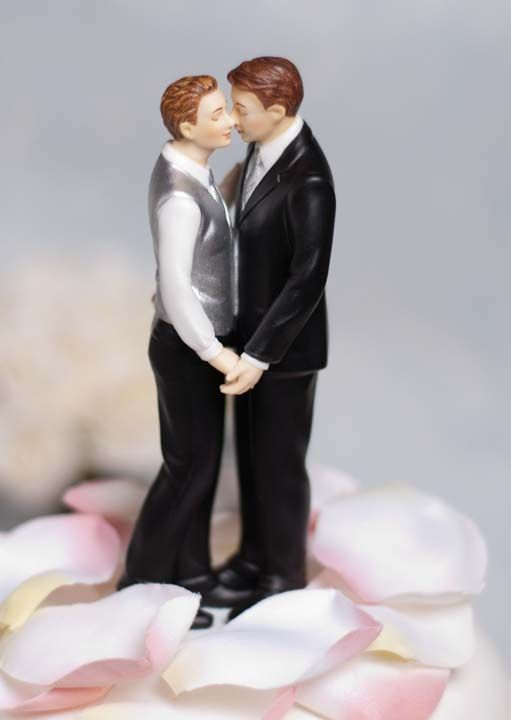 This Gay Wedding Cake Topper Reveals True Emotion As Newly Wed Couple Lovingly Embrace Each