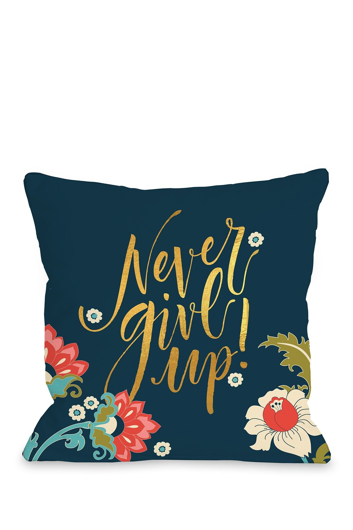 One Bella Casa Never Give Up - Navy Pillow by OBC | Bed Bath Room ...