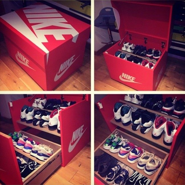 Decorating A Shoe Box: Nike & Air Jordan Slide Out Wooden Sneaker Box Storage By