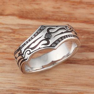 Tribal Wedding Band 1 With Square Diamond And Channel This Phenomenal For Men