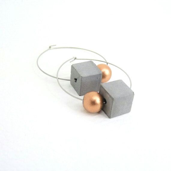 Creoles with Concrete Cubes and coppercolored Wooden