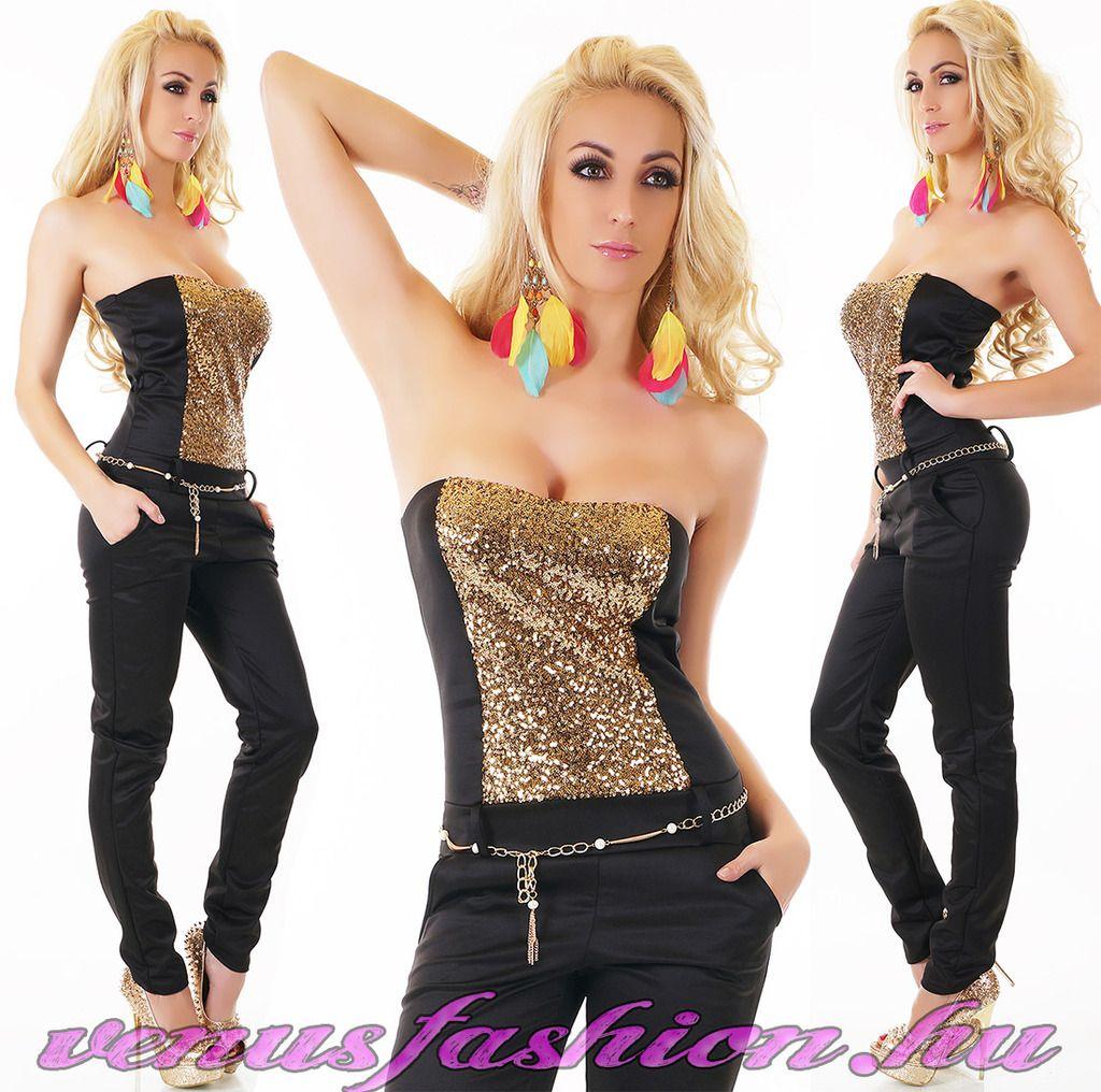c9acfedd46 Exkluzív fekete arany női ujjatlan overál láncos övvel - Venus fashion női  ruha webáruház