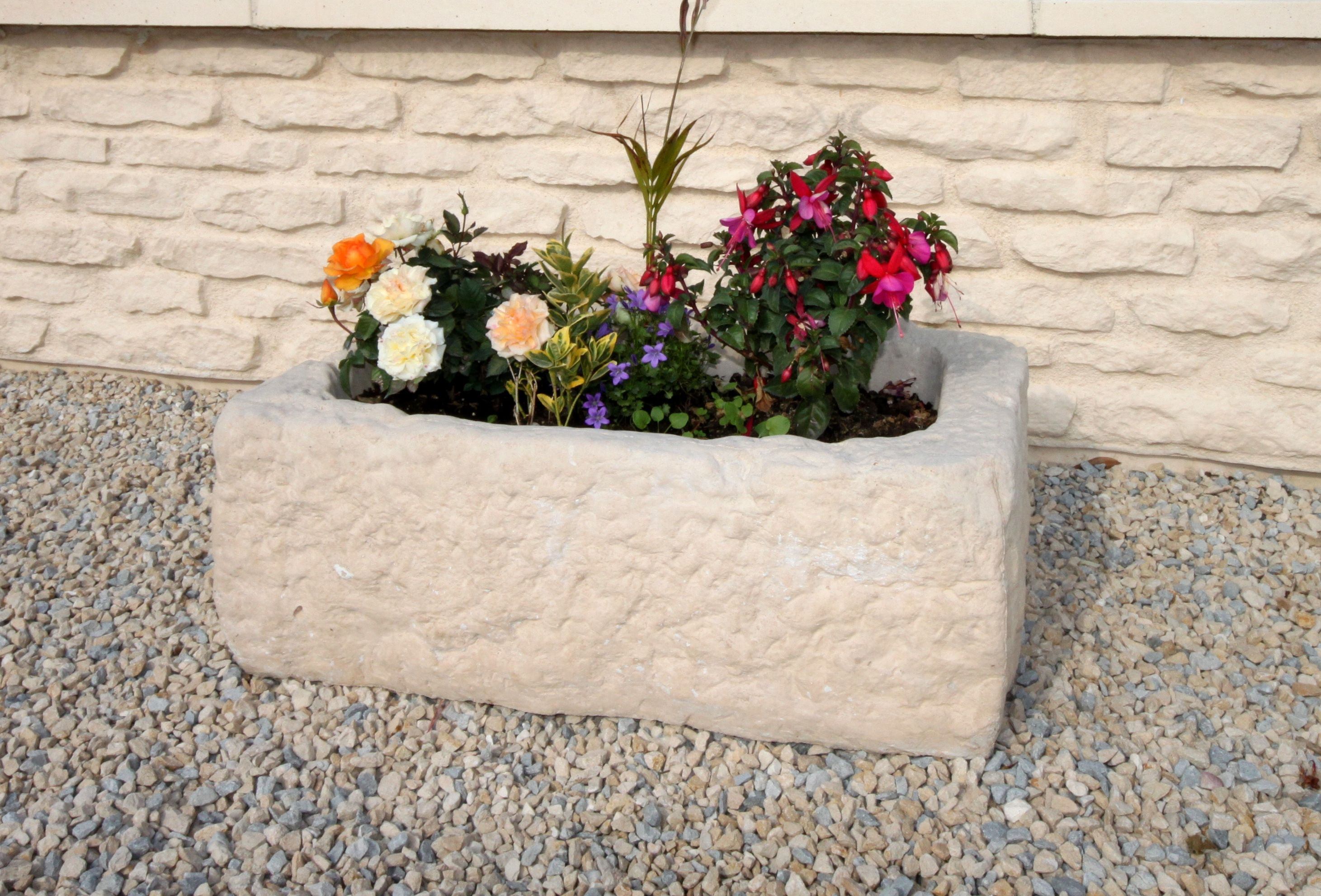 Bac Pour Arbuste De Jardin bac à fleurs, auge, jardinière en pierre reconstituée pour