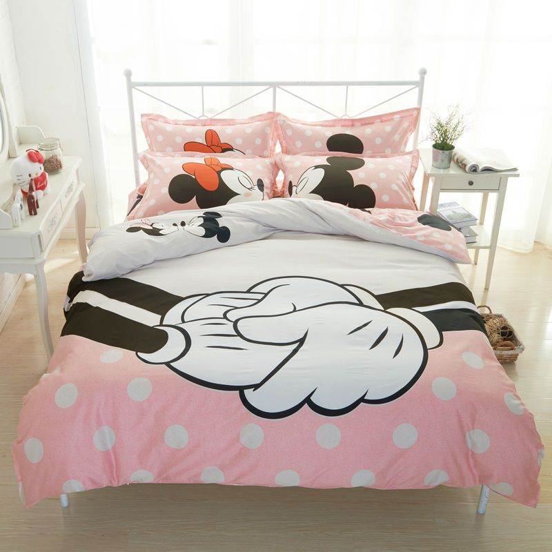 041881bcde Barato Amante Mickey jogo de cama para cama de casal 100% lençóis de  Algodão conjuntos capa de edredão minnie mouse impressão