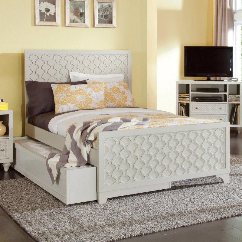 Myhome Amanda Collection Panel Bed with Trundle, Size