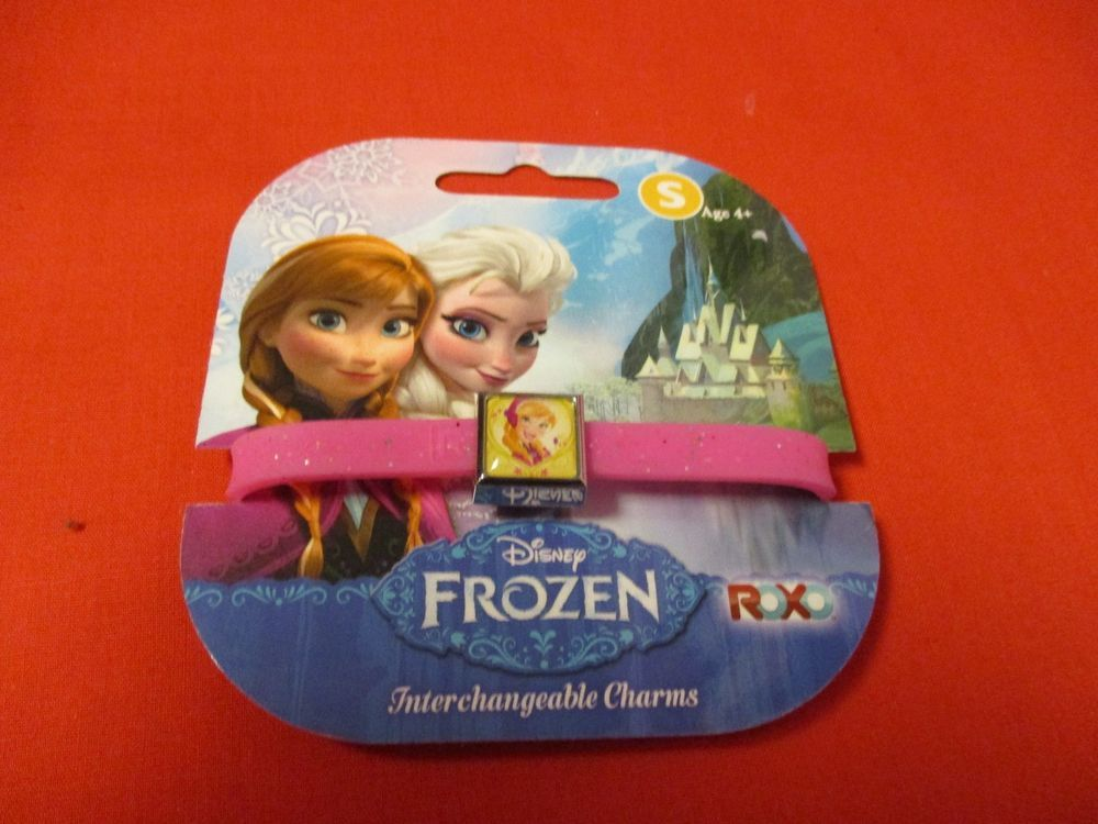 Disney Frozen Interchangable Charm Bracelet Rubber Small 1 Charm Pink Glitter #Unbranded