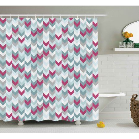 Buy Chevron Shower Curtain Symmetric Stripes In Gradient Tone Arrows Classic Vintage Graphic Fabric Bathroom Set With Hooks 69W X 75L Inches Long