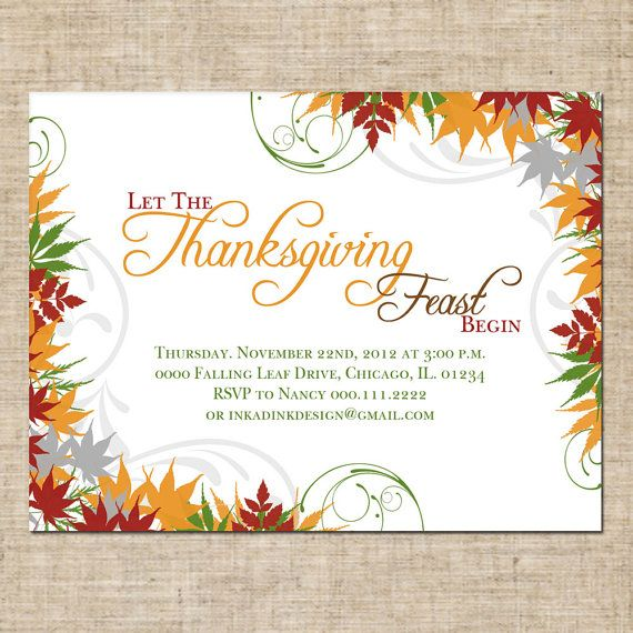 printable thanksgiving invitation personalized digital design