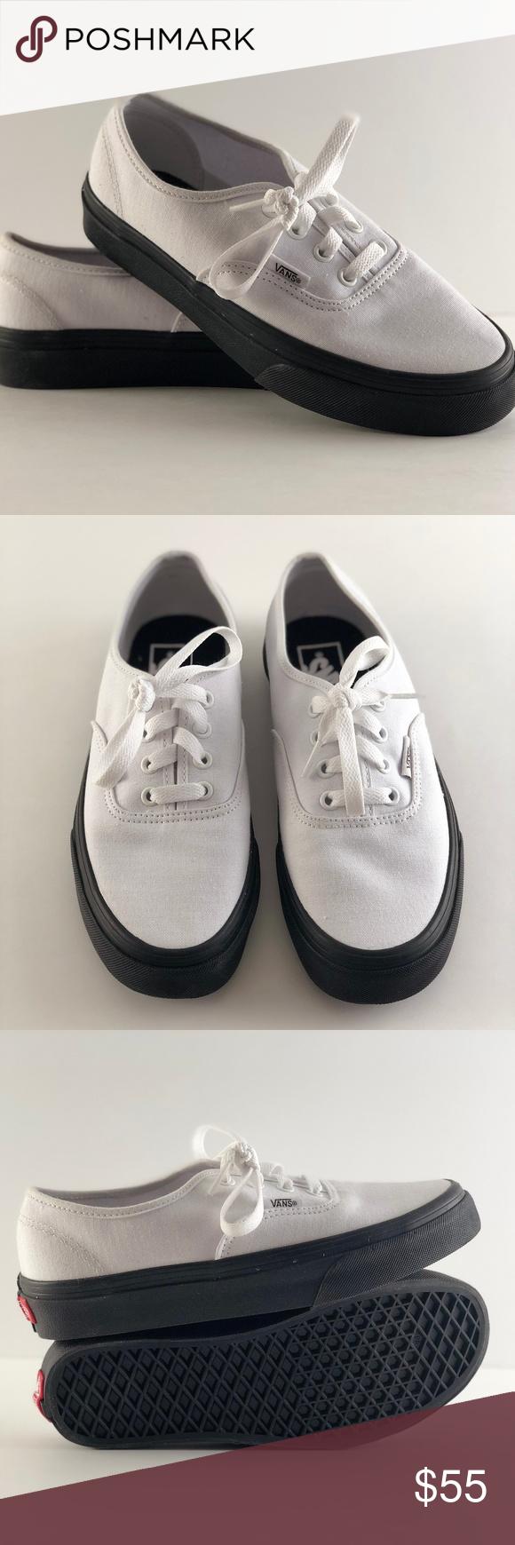 590193b3b1 Vans Authentic Black Outsole True White Skate Vans Authentic Black Outsole  True White Skate Shoes New